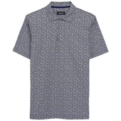 Angelo Leaves Printed Ooohcotton Tech Performance Three-Button Polo 460 Shirts & Tops - BUGATCHI Men's Clothing BVYNK9983