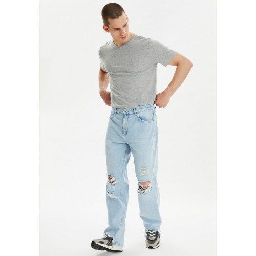 Men blue Distressed Straight Fit Jeans New Arrival A1ATC1419