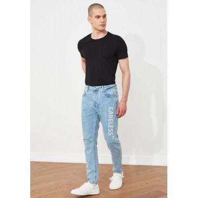 Men blue Ripped Printed Carrot Fit Jeans 0THMT2714