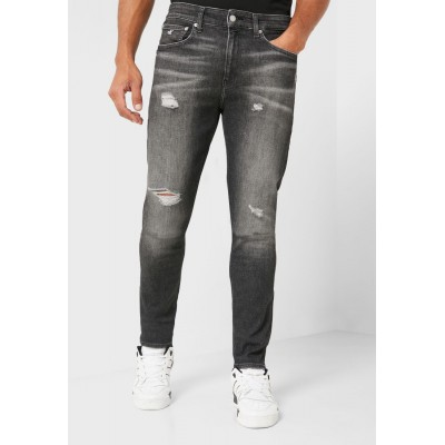 Men Calvin Klein Jeans black Distressed Skinny Fit Jeans Selling Well AI9E46819