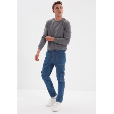 Men Trendyol blue Mid Wash Relaxed Fit Cargo Jeans Ships Free GE8F36164