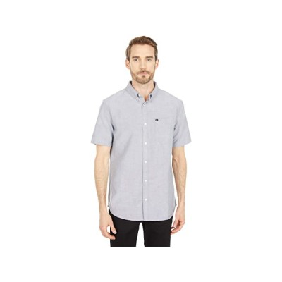 Men Quiksilver Oxford Cotton Short Sleeve Button-Up Shirt Iron Gate 9473616 LWUTH439